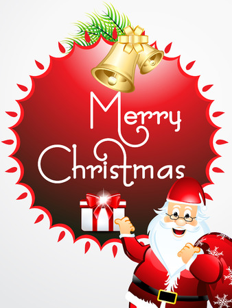merry christmas text background wtih santa vector illustration Illustration