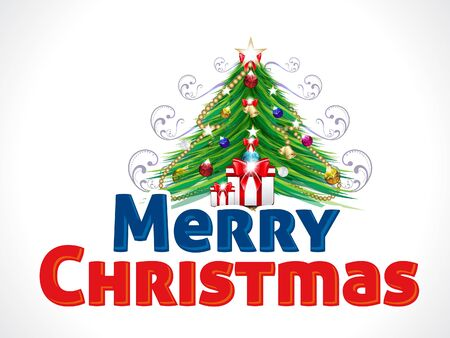 bright christmas tree: Merry Christmas Text Background with Tree vector illustration