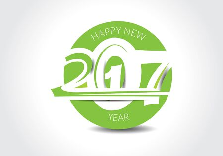 new yea: abstract happy new year 2017 text style design vector illustration Illustration