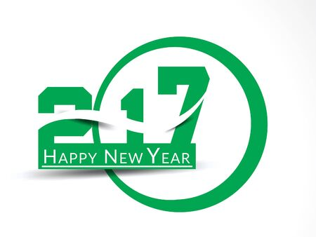 new yea: abstract happy new year 2017 text style vector illustration Illustration
