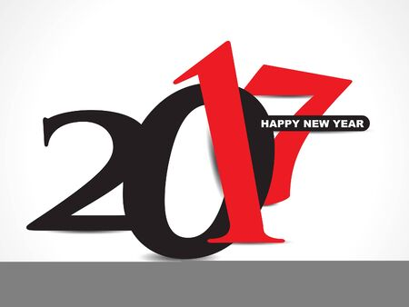 black & red happy new year 2017 text background vector illustration