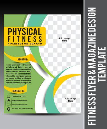 magazine template: Fitness Flyer & Magazine Design Template vector illustration