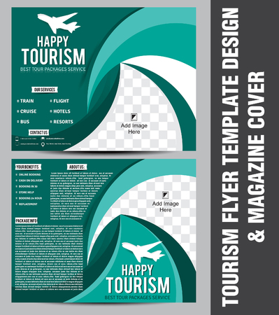 magazine cover: tourism flyer template design & magazine cover vector illustration