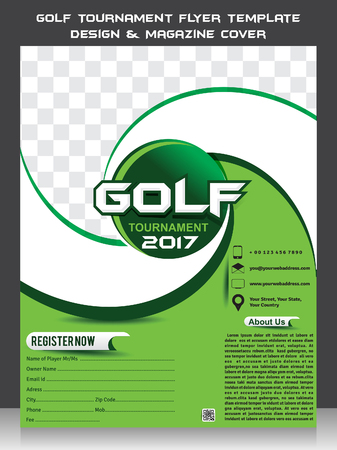 Golf Tournament Flyer Template Design & Magazine Cover vector illustration