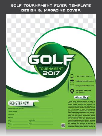 Torneo de golf flyer plantilla de diseño y cubierta de revista ilustración vectorial