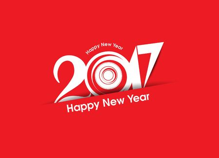 new yea: abstract happy new year 2017 text background vector illustration Illustration