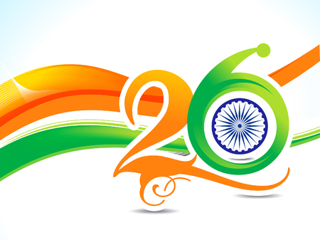 asoka: 26 january Republic day text and wave background vector illustration