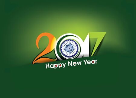 Happy new year 2017 text in indian flag style vector illustration Illustration