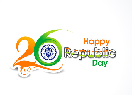 26 january Republic day text background vector illustration