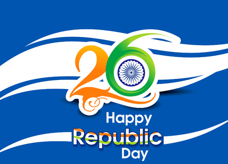 asoka: abstract 26 january Republic day text & wave conept background Illustration