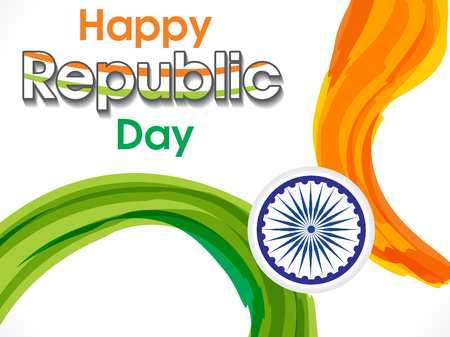 asoka: happy indian republic day background vector illustration