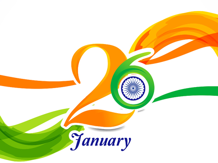 26th of january indian republic day text and wave backgorund vector illustration