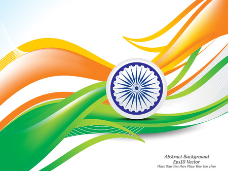 happy Indian republic day wave abckground with ashok chakra vector illustration