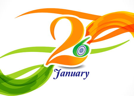 26th of january indian republic day wave backgorund vector illustration Illustration