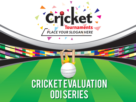 cricket stump: Colorful Cricket Tournamnet Banner Design Template with stedium vector illustration Illustration