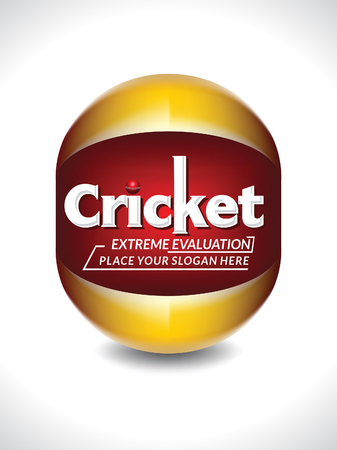 competitive sport: Cricket Banner & Text Design Template with Ball vector illustration