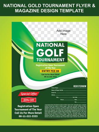 tournament: National Gold Tournament Flyer & Magazine Design Template vector illustration Illustration