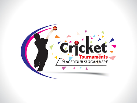 cricketer: Cricket Tournament Text & Banner Design Template vector illustration