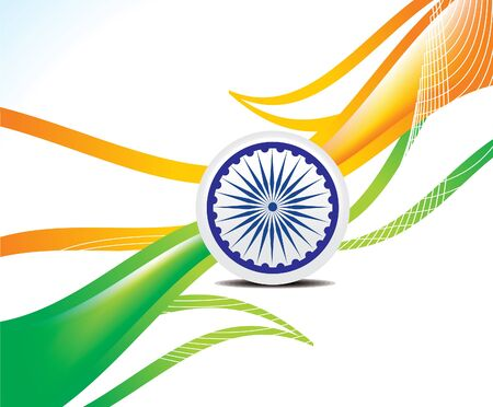 independance: abstract indian repunlic day wave background in indian flag style vector illustration