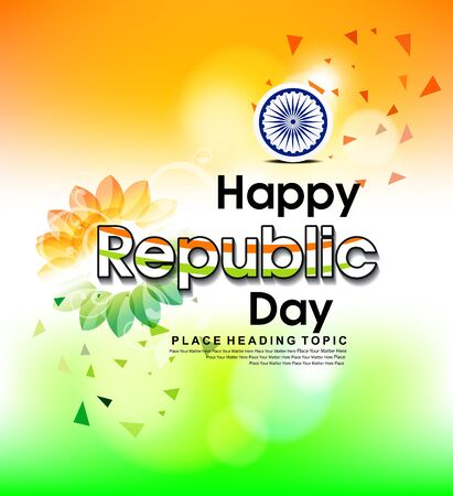 happy inidan republic day With Flower vector illustration