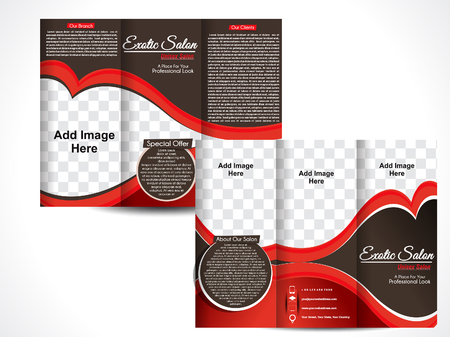 Tri Fold Exotic Salon Brochure Template Design vector illustration