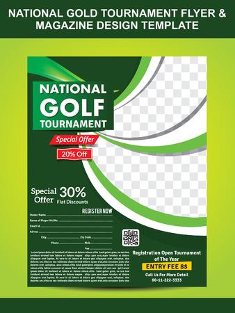 magazine template: national gold golf flyer template & magazine design vector illustration