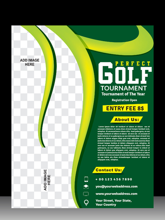 ゴルフ トーナメントのチラシ ・雑誌レイアウト デザイン ベクトル図