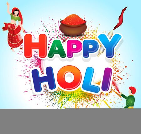Happy holi card with color bowl and grunge illustration