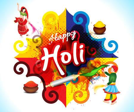 happy holi colorfull background with rangoli vector illustrtation Illustration