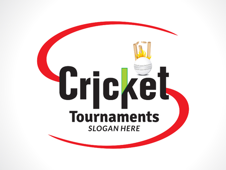 cricket tournament  banner or text style vectpr illustration