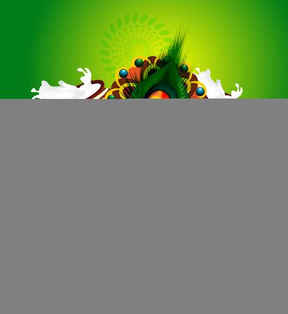 Happy Janmashtami Backround with Flute vector illustration