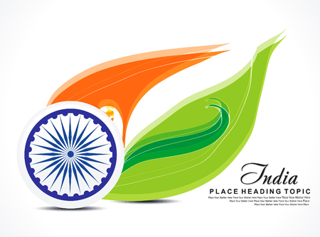 asoka: Indian independence day background with wave vector illustration
