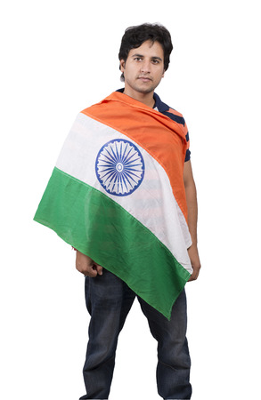 indian male model posing with indian flag