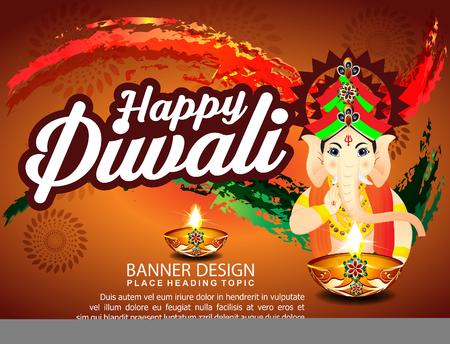 Diwali Celebration Background With Lord Ganesha vector illustration