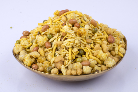 traditional indian besan & corn flakes namkeen in bowl