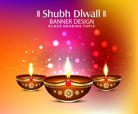 happy diwali festival backgound with bokeh effect vector illustration