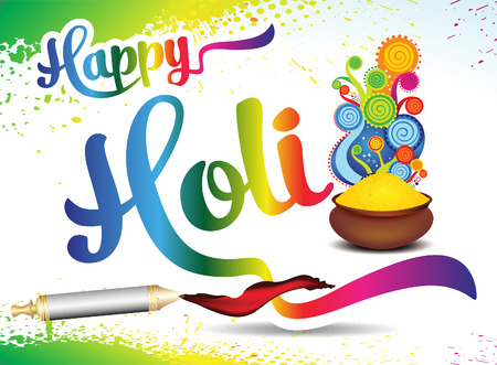 Happy holi text background with color bowl vector illustration.