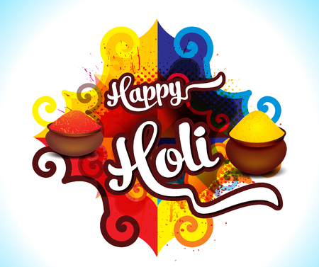 Happy holi colorful background with rangoli vector illustration.