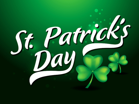 St. Patricks day text background with clove vector illustration