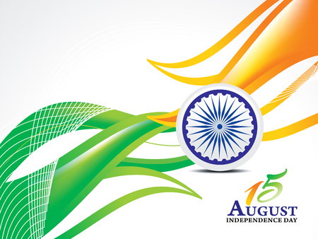 indian independence day background with wave vector illustration