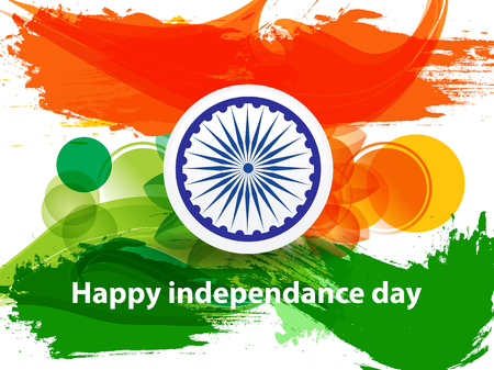 happy indian independence day background with indian flag vector illustration  イラスト・ベクター素材