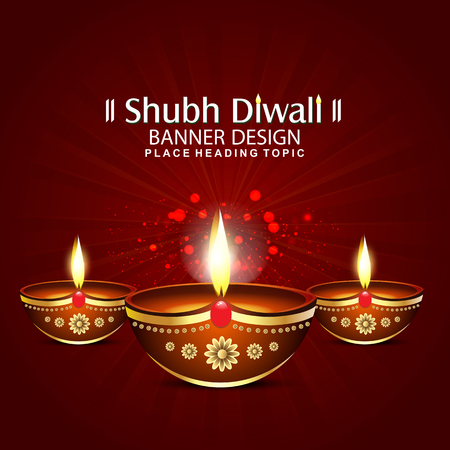 happy diwali festival background with deepak Vector illustration
