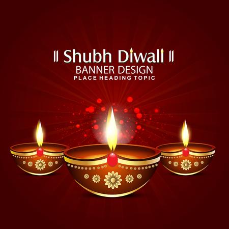 happy diwali festival background with deepak Vector illustration  Illustration