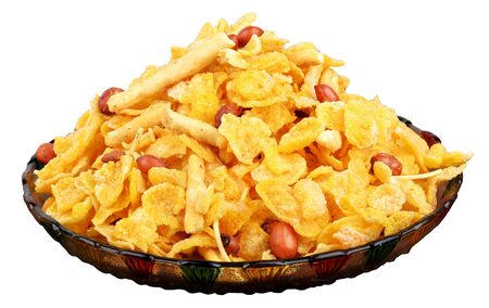 traditional indian spicy and crunchy cornflakes namkeen Stock Photo