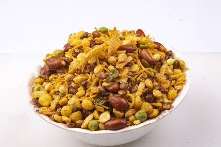 traditional indian navratan mixture namkeen in bowl