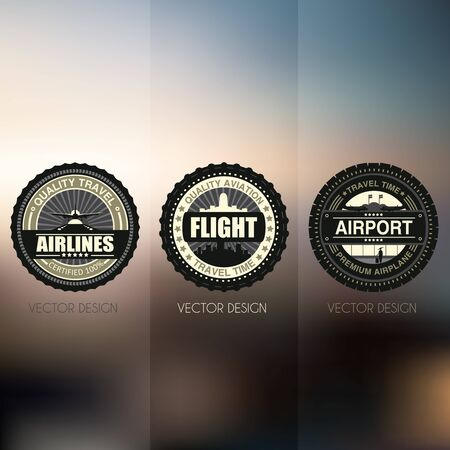 airlines: Flight emblems set, badges and icons.Showing vector elements of the aircraft and the airport. Dark modern style on a colored background. Airport travel activities illustration. Airlines emblems set.