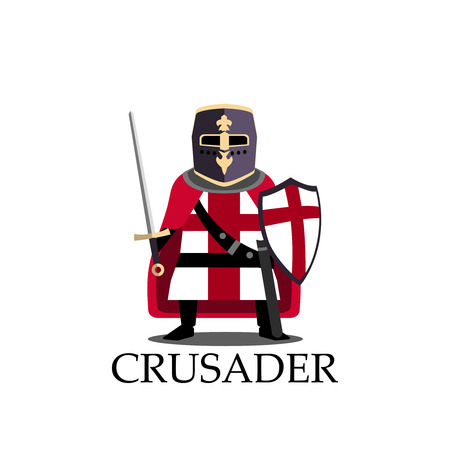 Medieval crusader knight, preparing for joust or fight sign. Vector Illustration. Cartoon logo design template Isolated on a white background.