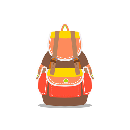 back pack: Light backpack. Vector isolated bag for travel, baggage, tourism, hiking, camping. Equipment, rucksack, pack, back, design object. Adventure element.Orange and brown colors.