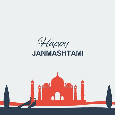 birthday religious: Krishna Janmashtami background in vector. Greeting card for Krishna birthday. Illustration of India community festival Krishna Janmashtami. Image peacocks and a mosque.