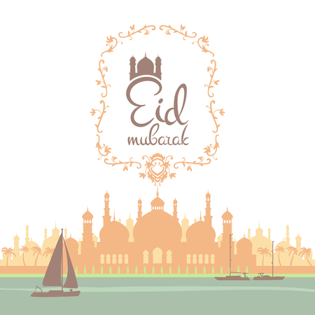 specially: Eid mubarak poster. Illustration of Ramadan Kareem with Arabic mosque and the sea with boats for the celebration of Muslim community festival. Free hand write with a floral frame specially for Ramadan